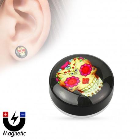 Faux piercing plug magnétique sugar skull violet