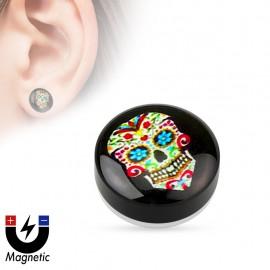 Faux piercing plug magnétique sugar skull bleu