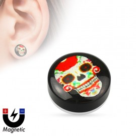 Faux piercing plug magnétique sugar skull rouge