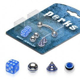Pack Piercing Arcade Acier chirurgical Bleu