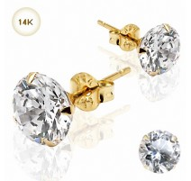 Paire Boucles d'oreille Clous Pierre Ronde Or Jaune 14K