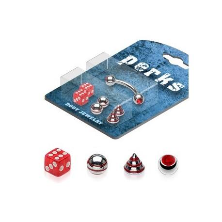 Pack Piercing Arcade Acier chirurgical Rouge - Bijou Piercing pour Arcade