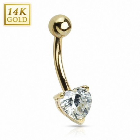 Piercing nombril Or 14 carats Coeur rose