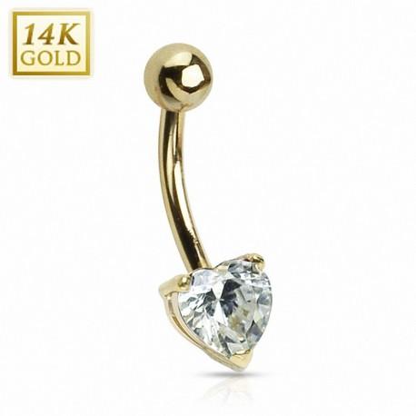 Piercing nombril Or 14 carats Coeur rose