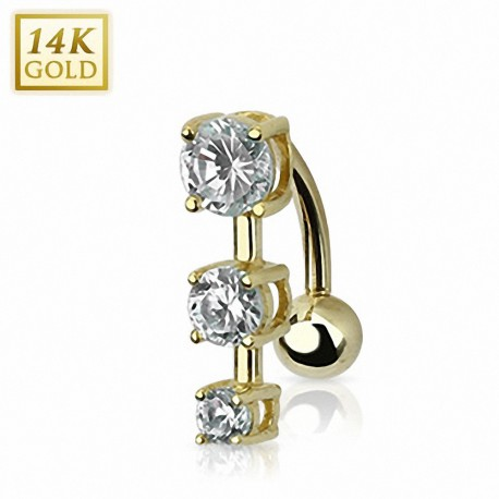 Piercing nombril inversé Or 14 carats gemmes ronds