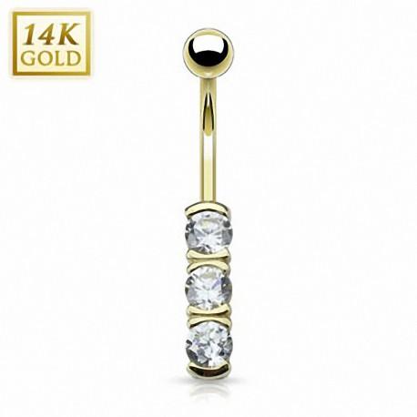 Piercing nombril Or 14 carats triple gemmes