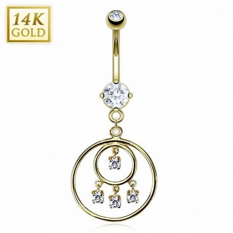 Piercing nombril Or 14 carats loop chandelier