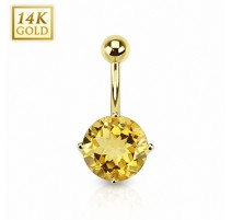 Piercing nombril Or 14 carats Citrine