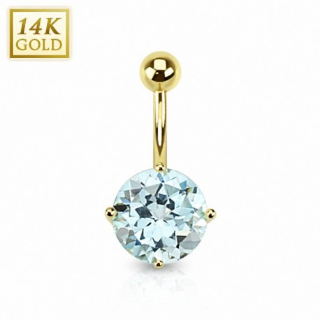 Piercing nombril Or 14 carats Topaze Bleu ciel