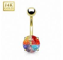 Piercing nombril Or 14 carats Gemme Rond Multicolore
