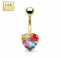 Piercing nombril Or 14 carats Gemme Coeur Multicolore