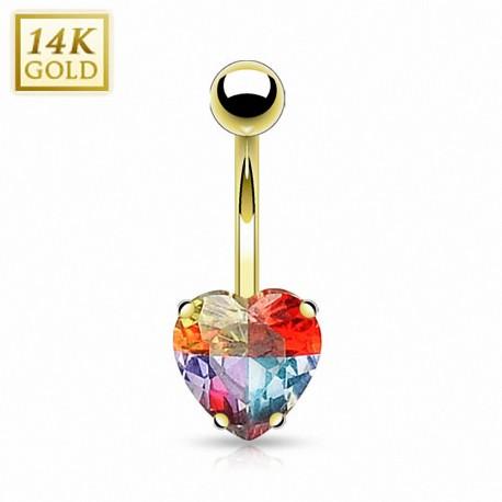 Piercing nombril Or 14 carats Gemme Coeur Multicolore