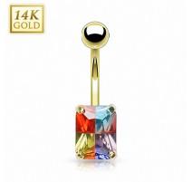 Piercing nombril Or 14 carats Gemme Rectangulaire Multicolore