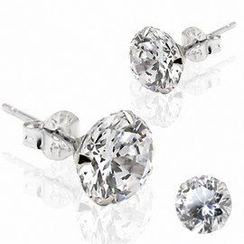 Paire Boucles d'oreille Clous Pierre Ronde Or Blanc 14K