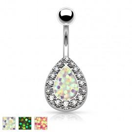Piercing nombril larme opale paillettée