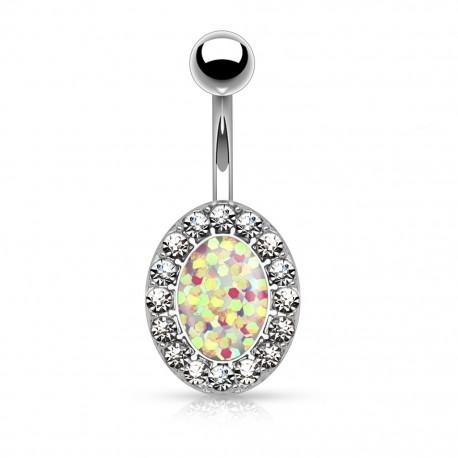 Piercing nombril ovale opale paillettée