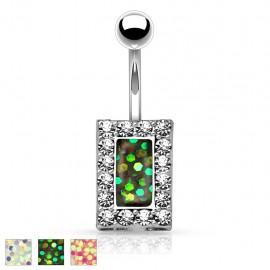 Piercing nombril rectangle opale paillettée