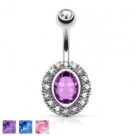 Piercing nombril ovale gemme