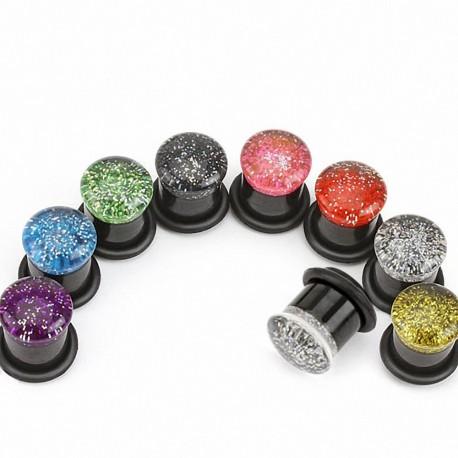 Piercing plug acrylique paillettes