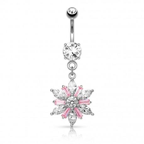 Piercing nombril pendentif fleur gemmes