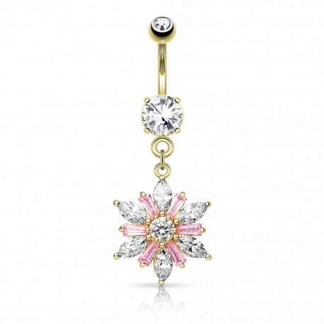 Piercing nombril plaqué or pendentif fleur gemmes