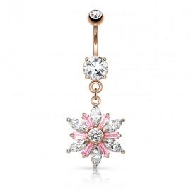 Piercing nombril or rose pendentif fleur gemmes