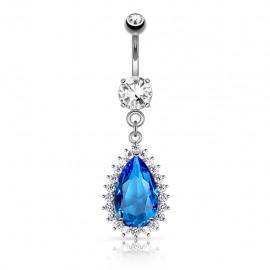 Piercing nombril larme bleue