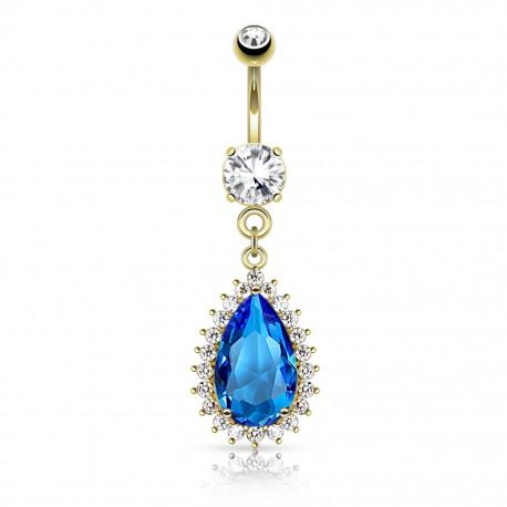 Piercing nombril plaqué or larme bleue