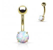 Piercing nombril opale plaqué or