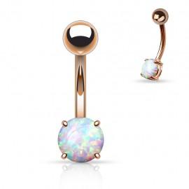 Piercing nombril opale or rose