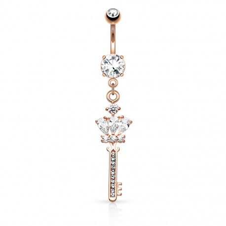 Piercing nombril or rose clef couronne