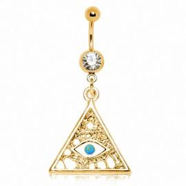 Piercing nombril plaqué or oeil des illuminati