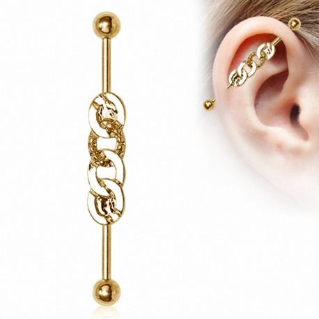 Piercing industriel plaqué or anneaux