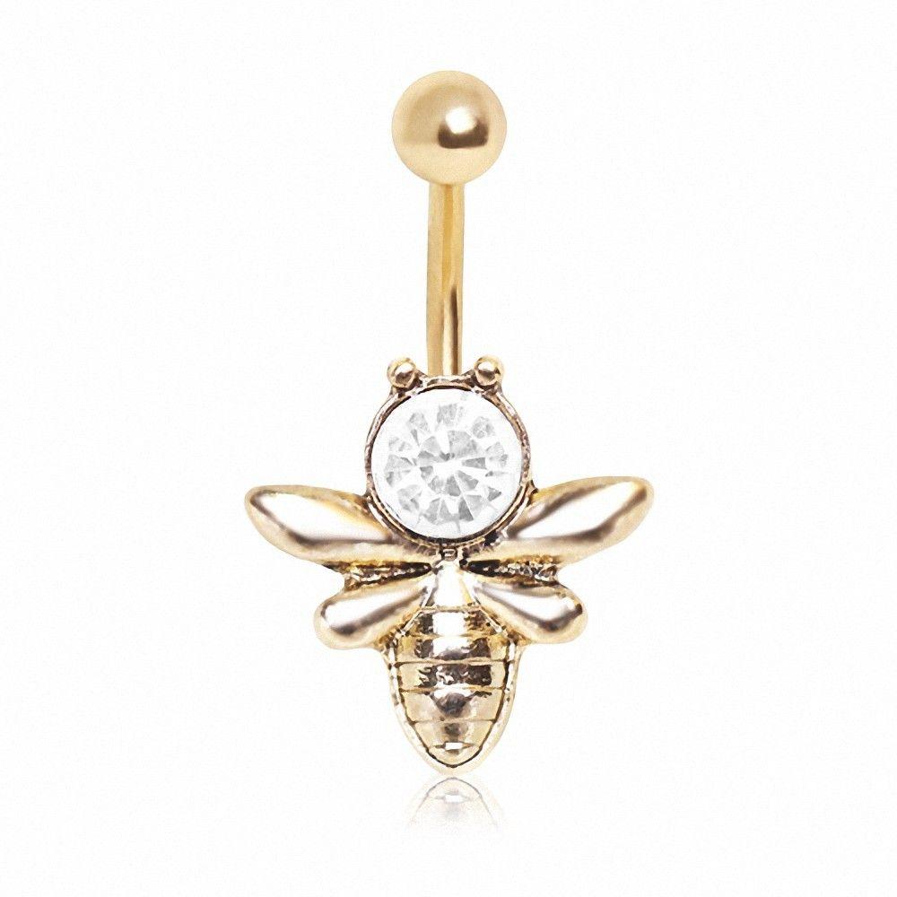 piercing nombril plaqu or abeille. Black Bedroom Furniture Sets. Home Design Ideas
