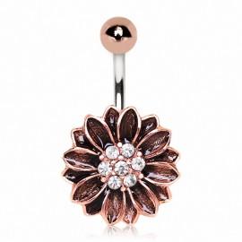 Piercing nombril plaqué or rose fleur