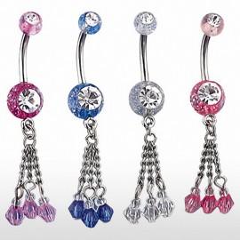 Piercing nombril paillettes chaines