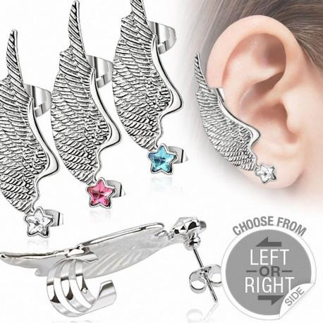 Boucle d'oreille aile d'ange étoile