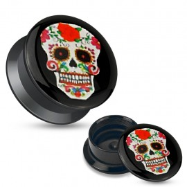 Piercing plug acrylique sugar skull rouge