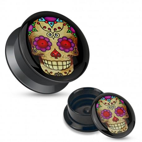Piercing plug acrylique sugar skull violet