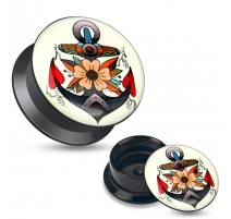 Piercing plug acrylique ancre marine