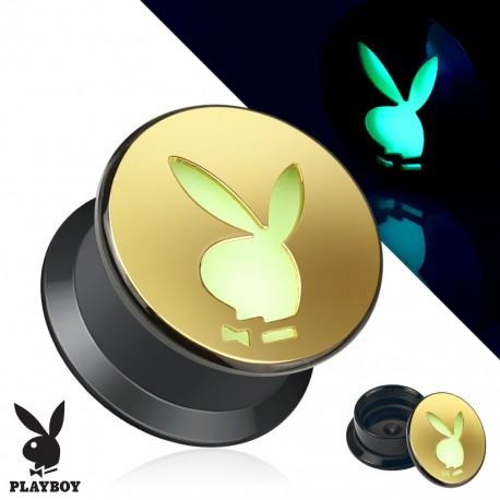 Piercing plug acrylique doré Playboy