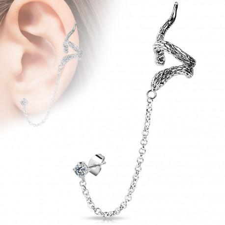 Boucle d'oreille chaine serpent