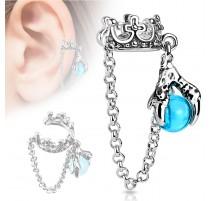 Faux piercing oreille couronne boule de cristal