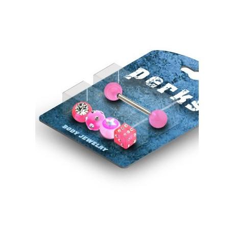 Pack Piercing Langue Gem et Etoile Acrylique Rose - Bijou Piercing Langue