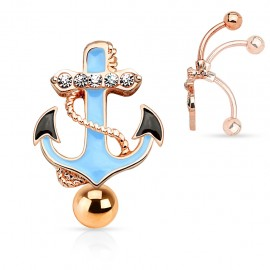 Piercing nombril inversé ancre marine or rose