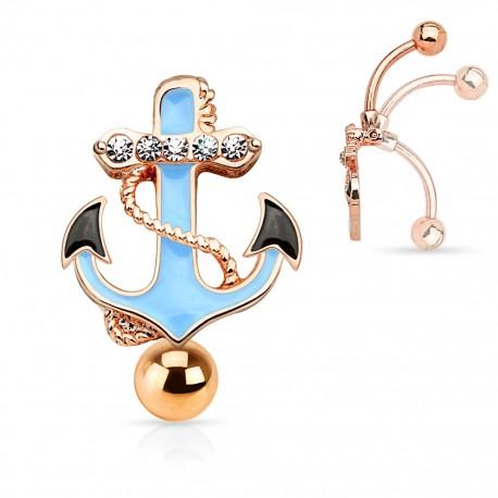 Piercing nombril inversé ancre marine or rose