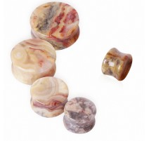 Piercing plug pierre agate dentelle folle
