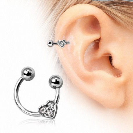 Piercing oreille fer à cheval coeur