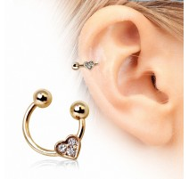 Piercing oreille fer à cheval coeur plaqué or
