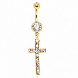 Piercing nombril plaqué or croix pavée